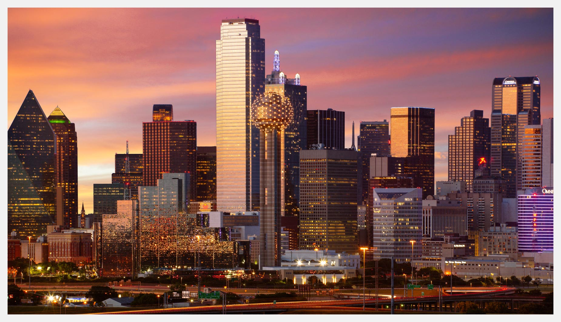 Dallas-Skyline-At-Sunset