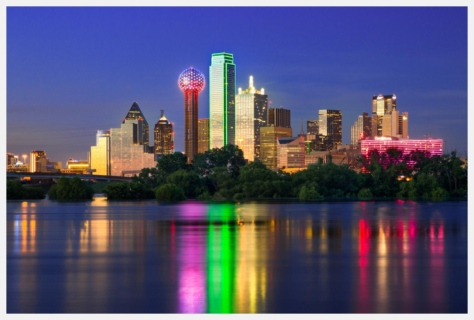 Dallas Skyline With Reflection in River Cityscape