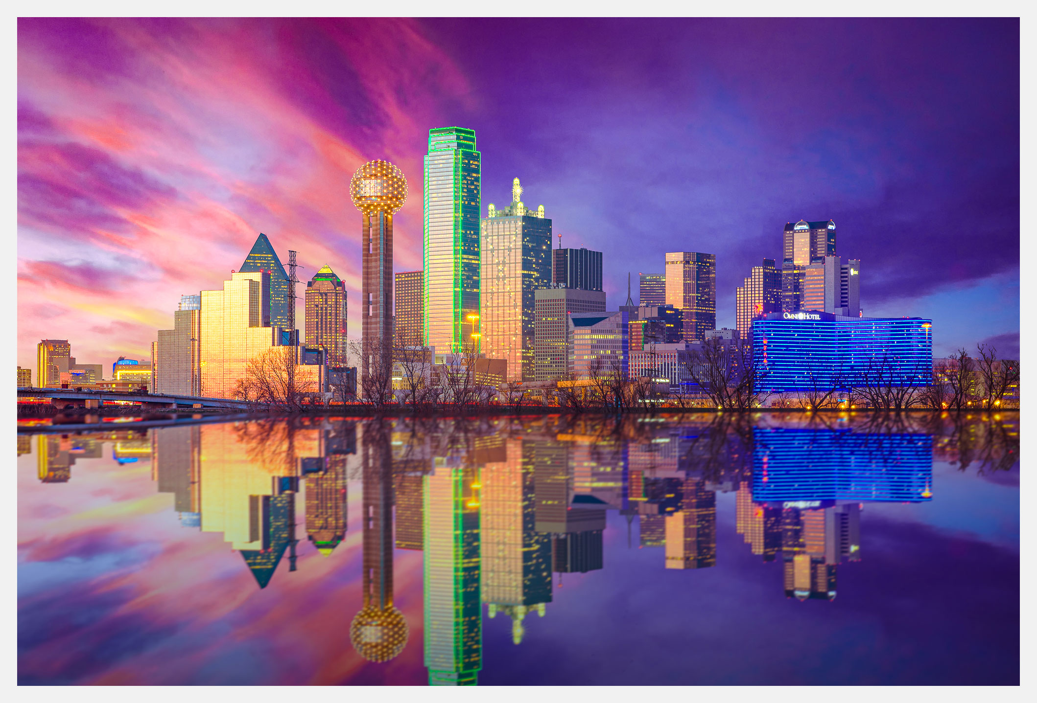 Dallas Skyline at Night With Reflection