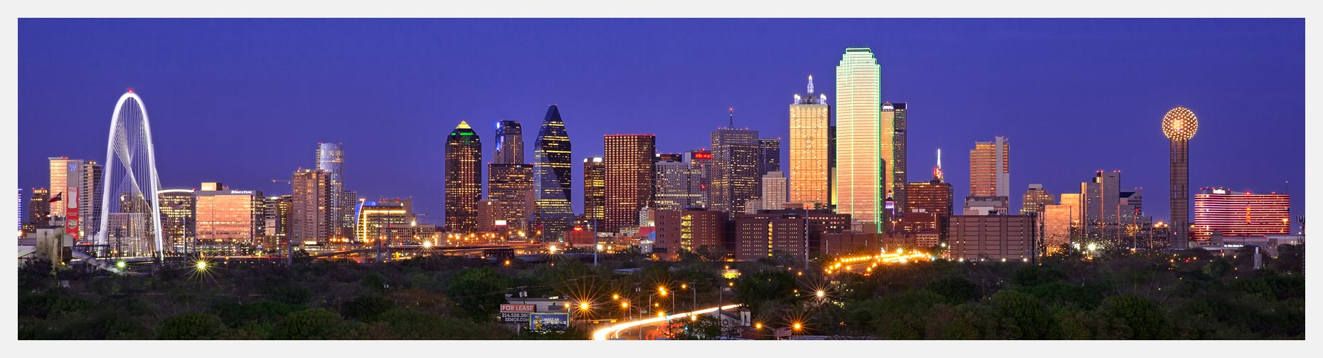 Dallas Skyline Panorama at Night
