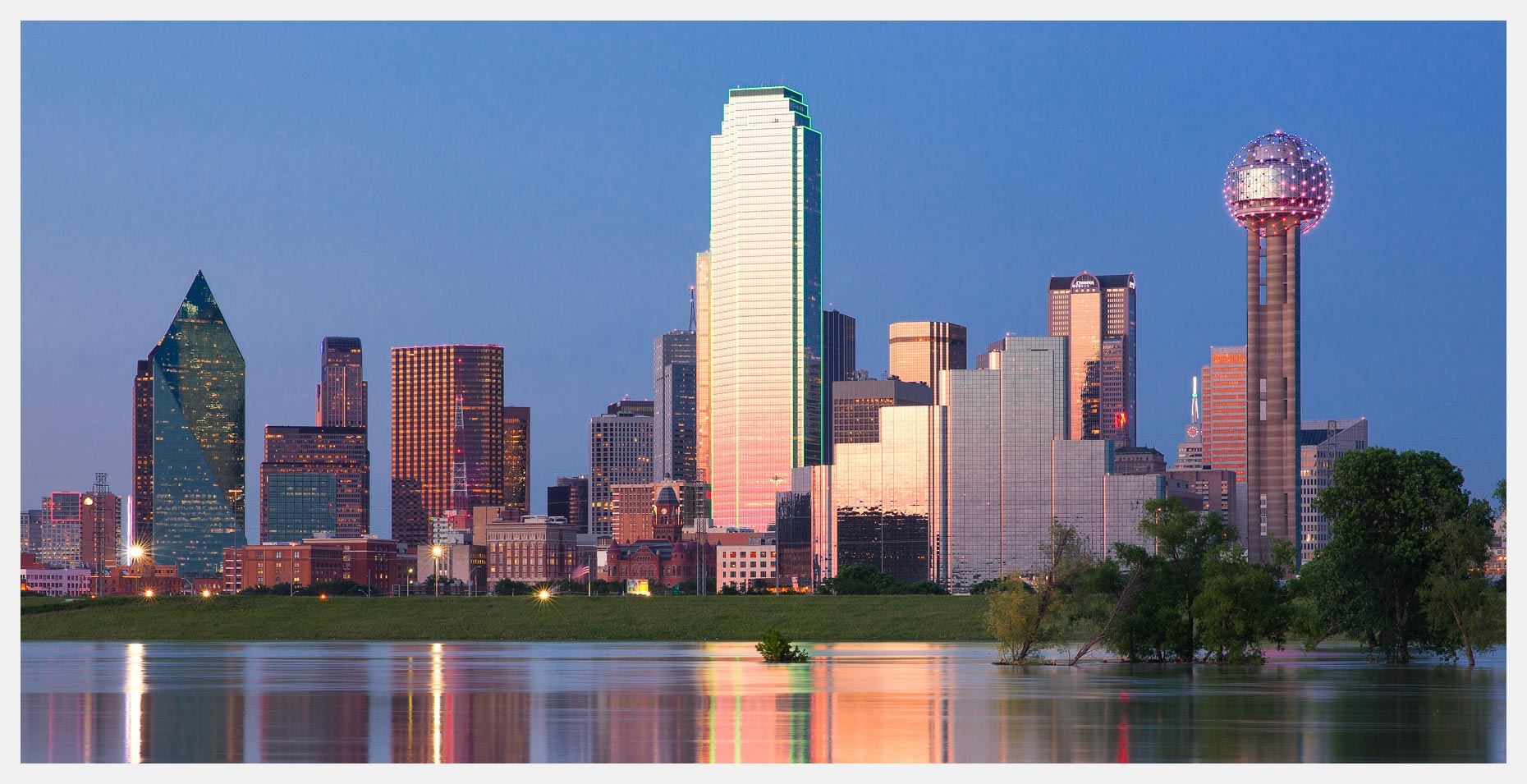 Dallas Skyline Panorama With Reflection