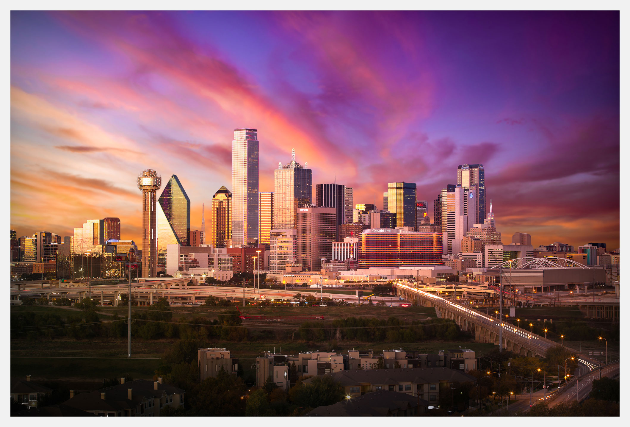 Dallas Skyline at Dusk with Autumn Sunset