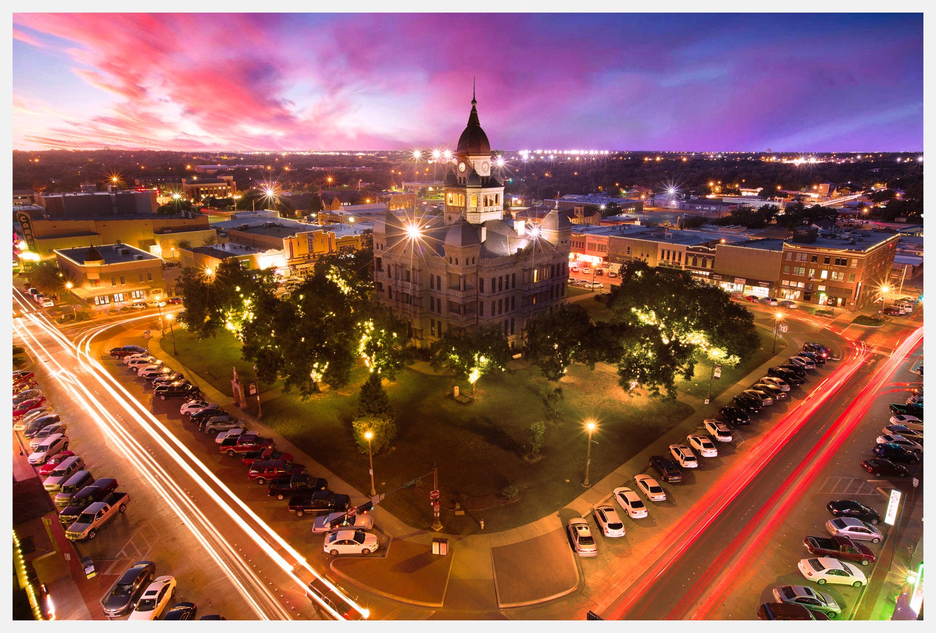 Denton-Texas-At-Sunset-With-Pink-Sky