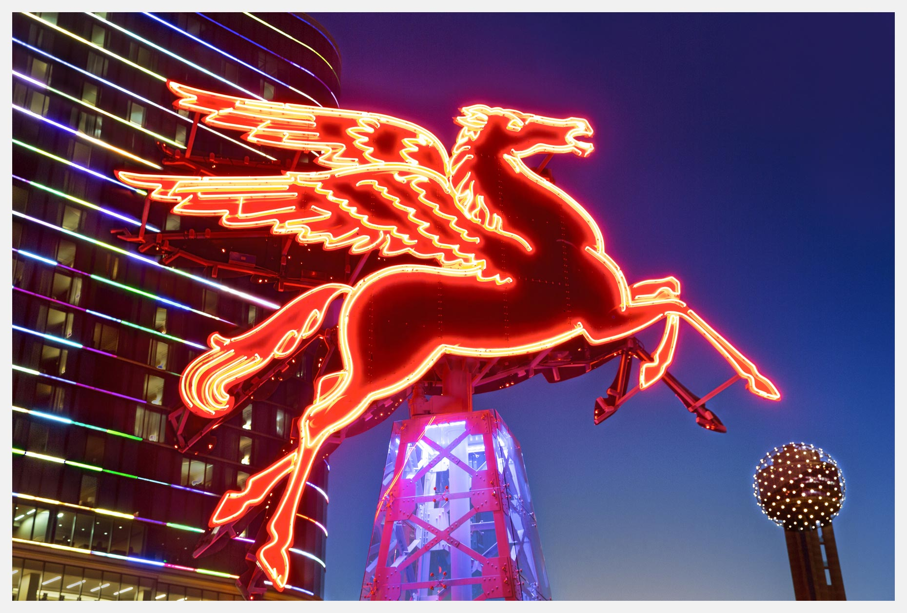 Pegasus Flying Red Horse Dallas Skyline Image