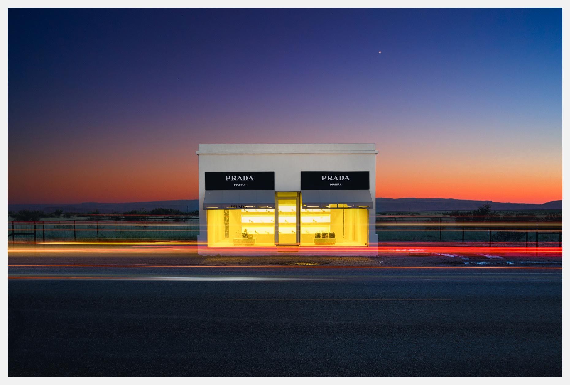Prada Marfa with Texas Sunset