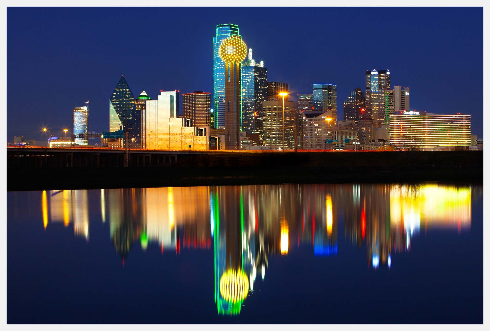 Dallas Skyline at Night With City Reflection in River
