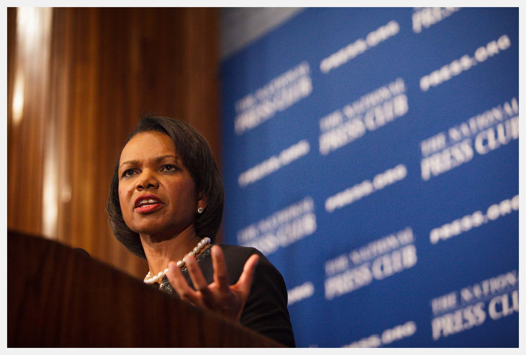 Former United States Secretary of State Condoleezza Rice speaks at the National Press Club in Washington DC